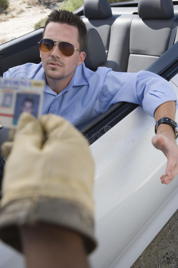 Middle Aged Man In Car Gesturing stock images