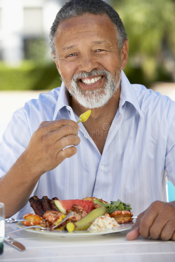 Download Middle Aged Man Dining Al Fresco Stock Photo - Image: 7870088