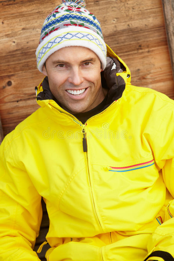 Middle Aged Man Dressed For Cold Weather Stock Photography
