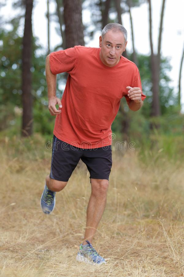 Middle aged man jogging in park royalty free stock photos