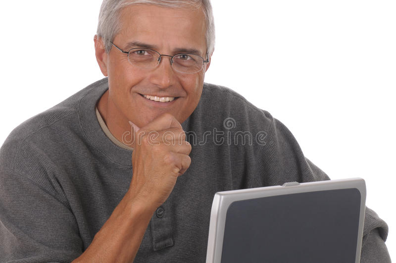 Download Middle Aged Man and Laptop stock image. Image of close - 14375367
