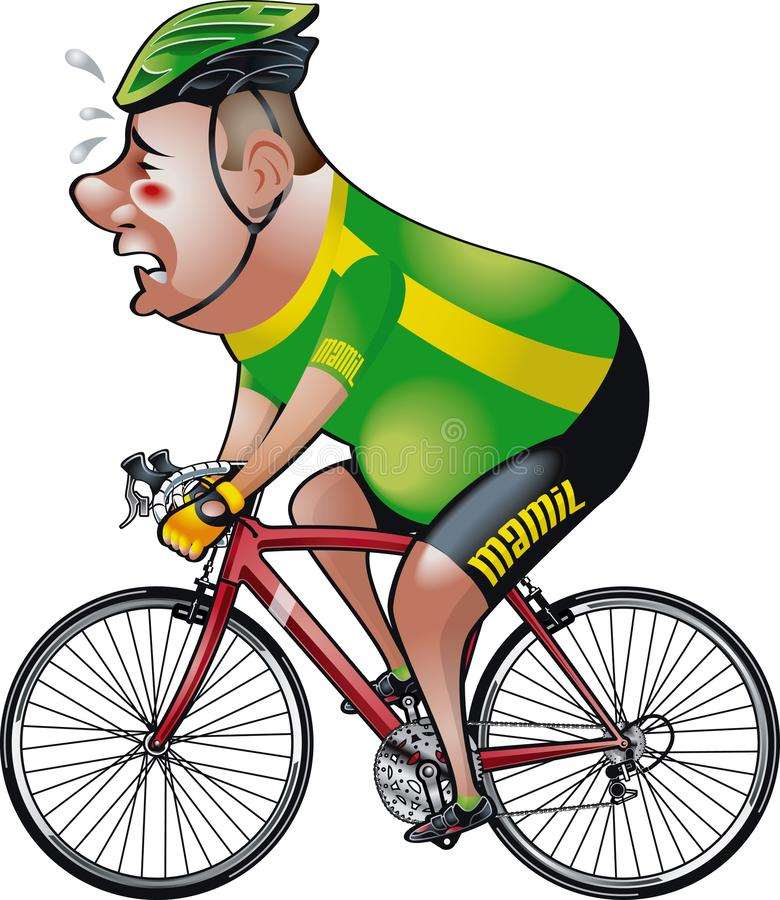 Middle aged man in lycra `mamil` riding racing bicycle. Editable and 100 % scaleable vector illustration of middle aged man in lycra `mamil` riding racing stock illustration