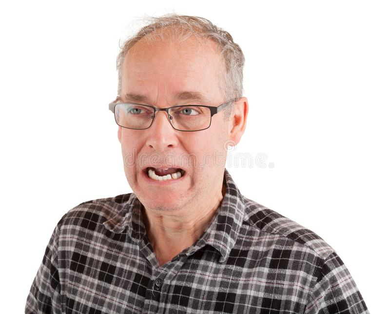 Man is Outraged about Something. A middle-aged man is outraged about something royalty free stock photography