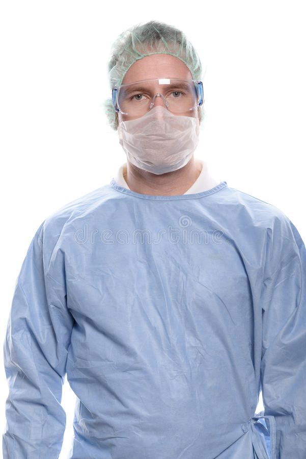 Middle-aged nurse or doctor in surgical scrubs stock image