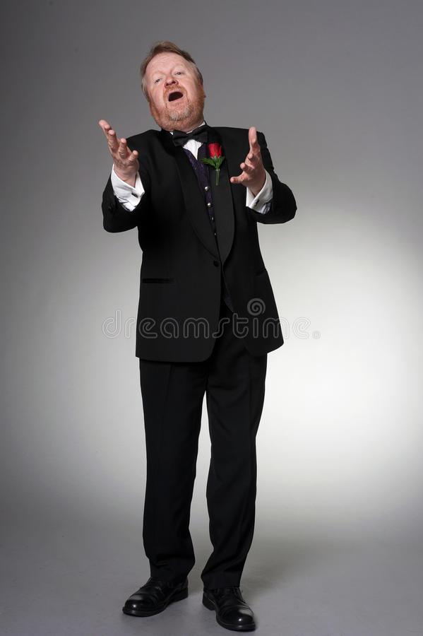Middle aged opera singer performing royalty free stock photos