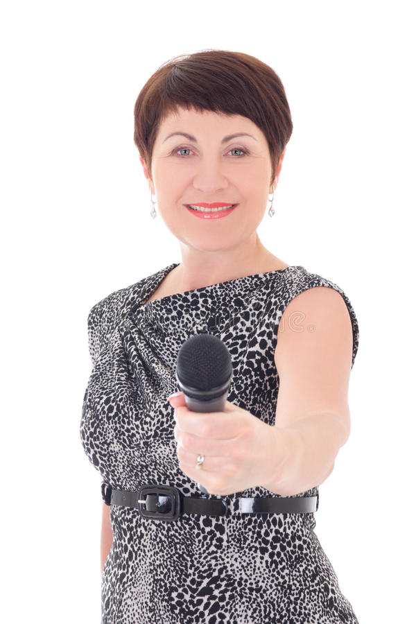 Middle Aged Reporter Interviewing With Micro Stock Photo