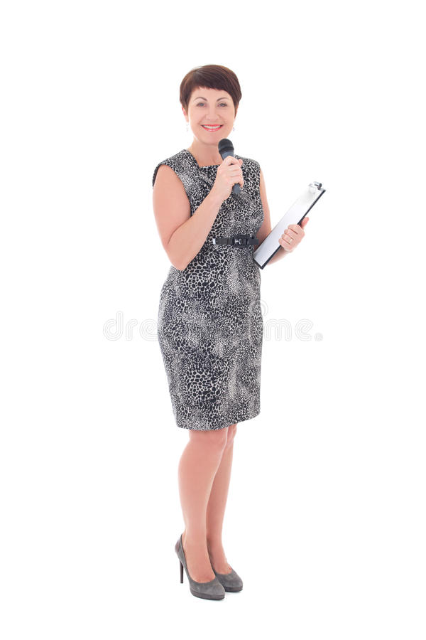 Download Middle Aged Reporter With Microphone Stock Photo - Image: 38957388