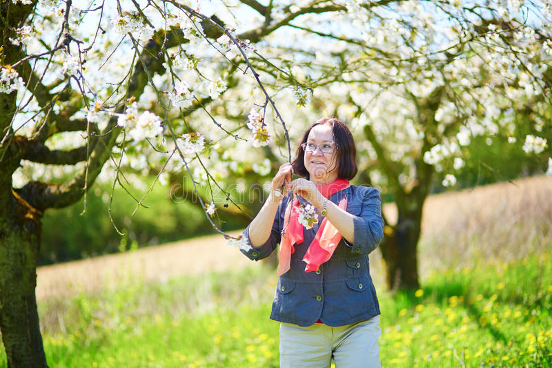 Middle aged woman in garden on a spring day. Beautiful middle aged woman in garden on a spring day royalty free stock photo