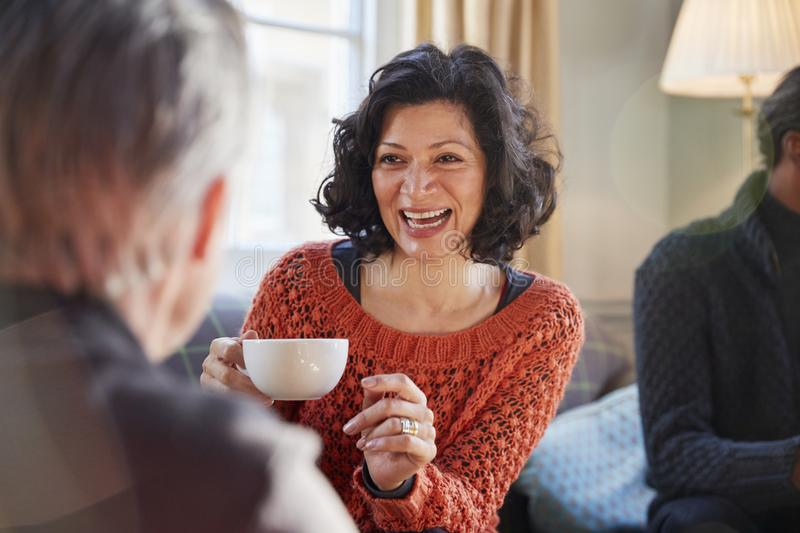 Middle Aged Woman Meeting Friends Around Table In Coffee Shop stock photography