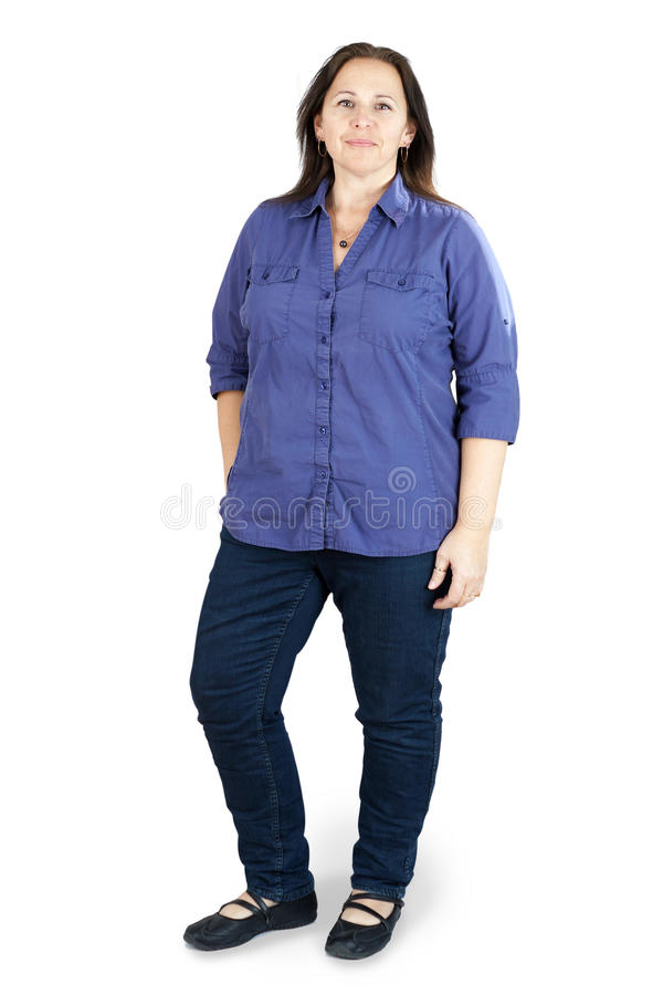 Middle-aged woman over white royalty free stock photos
