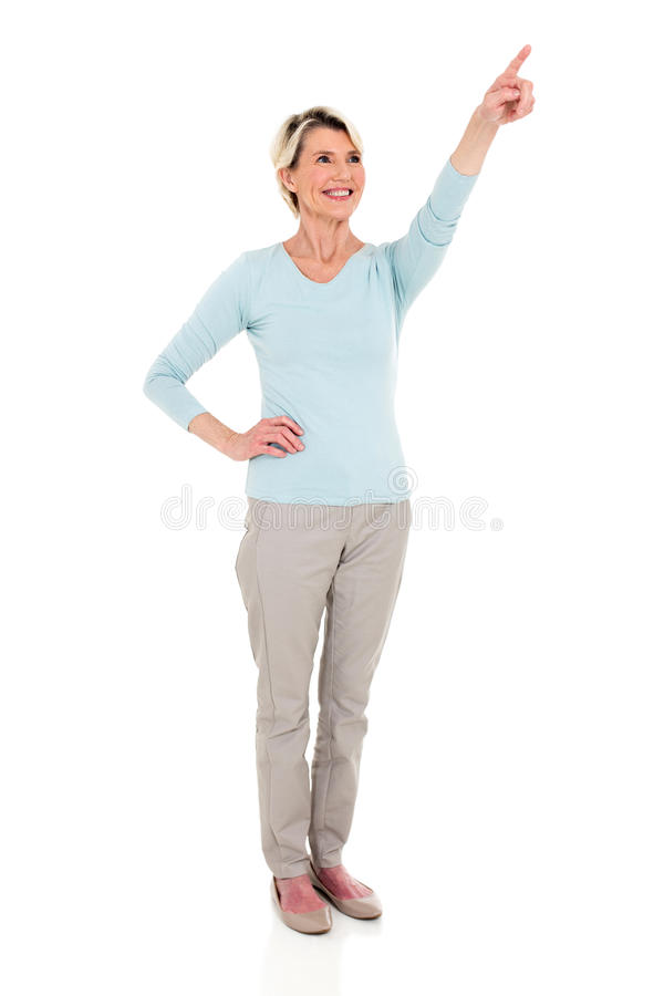 Middle aged woman pointing royalty free stock images