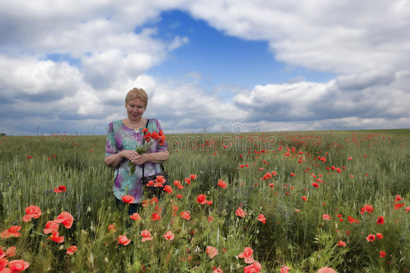 Middle-aged woman on a poppy field stock photography
