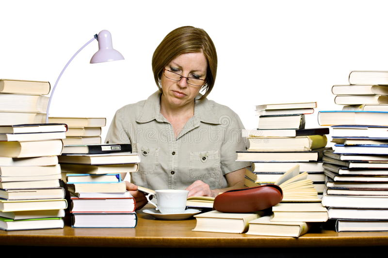 Download Middle Aged Woman Reading Books Stock Image - Image: 19284015