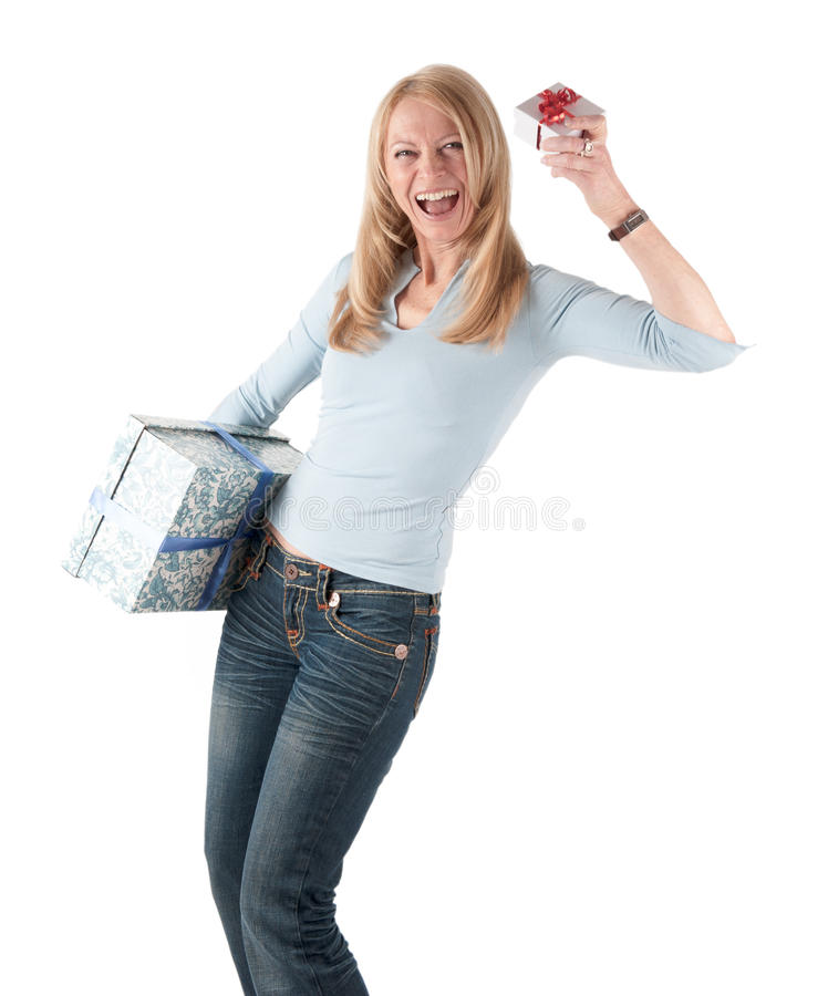 Download Middle Aged Woman With Two Parcels Stock Image - Image: 18681169