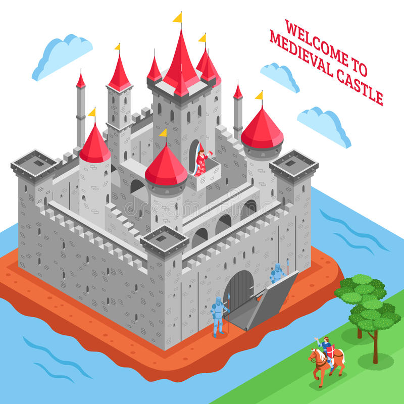 Middle Ages European Royal Castle Composition. Isometric colored middle ages european royal castle composition with welcome to medieval castle description vector royalty free illustration