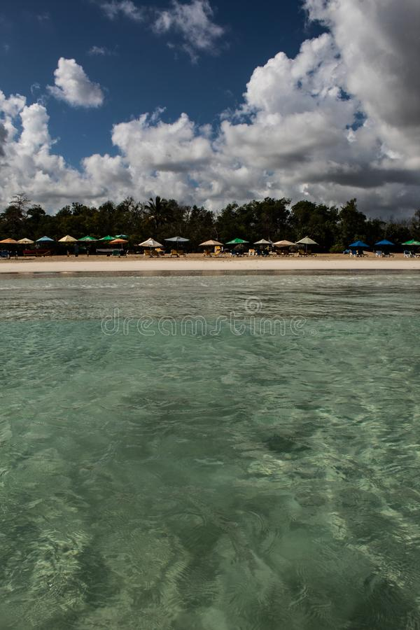In the middle of an amazing, green and turquoise caribbean sea; transparent water, tropical paradise. Playa Macaro, Punta Cana, stock photo
