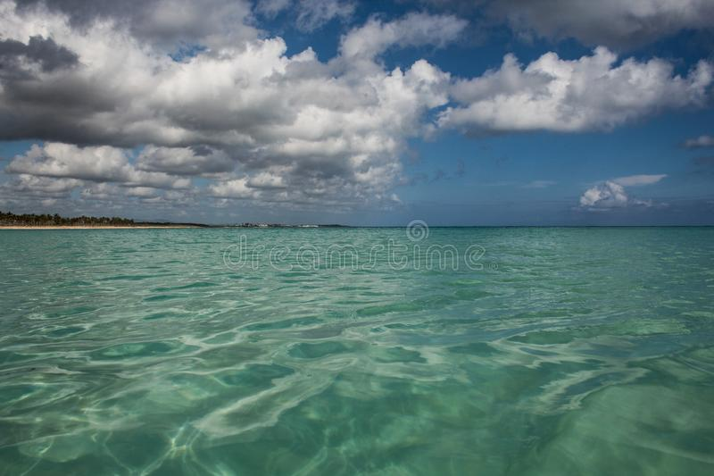 In the middle of an amazing, green and turquoise caribbean sea; transparent water, tropical paradise. Playa Macaro, Punta Cana, stock photos