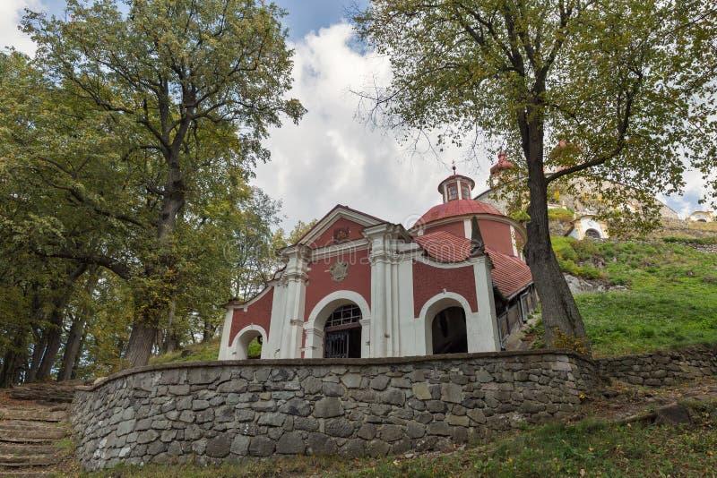 Middle church of baroque Calvary in Banska Stiavnica, Slovakia. stock photo