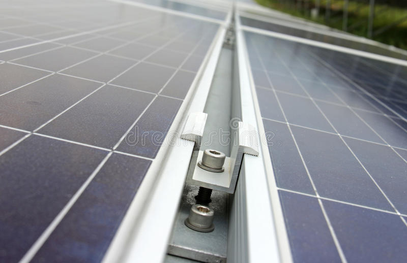 Middle Clamp Of Solar Pv Panel Installation Stock Image