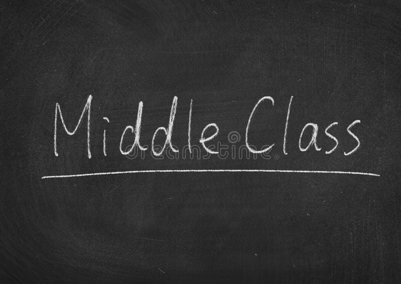 Middle Class. Concept words on a blackboard background royalty free stock image