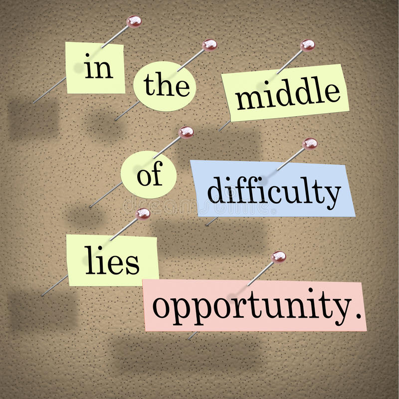 In the Middle of Difficulty Lies Opportunity. Pieces of paper each containing a word pinned to a cork board reading In the Middle of Difficulty Lies Opportunity stock illustration