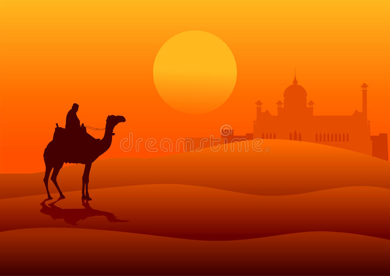 Middle East. Silhouette illustration of an Arabian riding a camel on the desert with middle east architecture in the distance