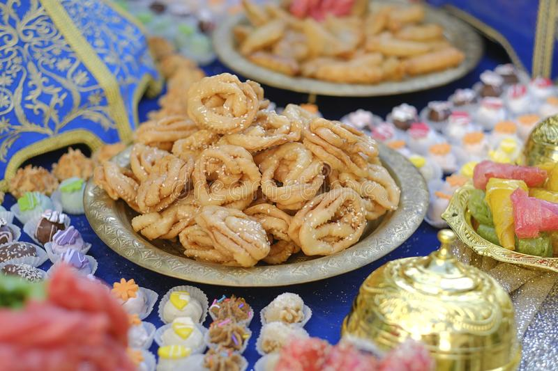 Middle east Arab Turkish Jewish sweets dessert.Close-up. stock photography