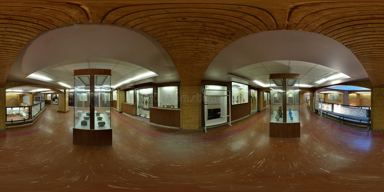 Middle East archaeological cultural museum galleries in Iran - wide angle expanded view royalty free stock images