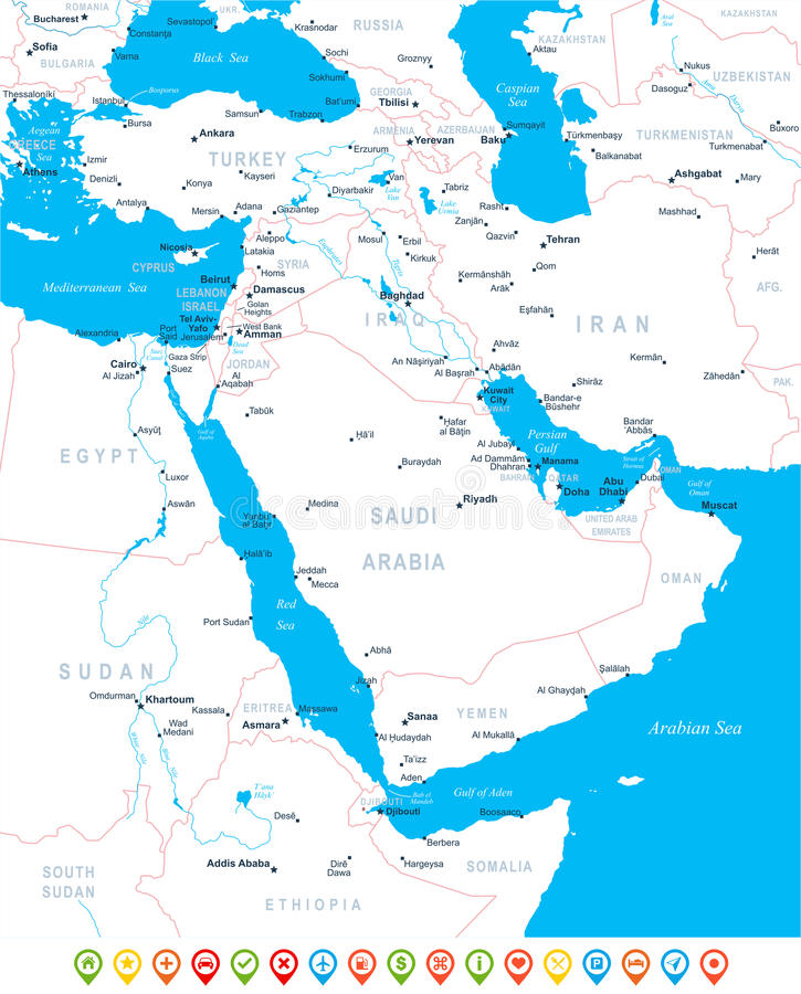 Middle East And Asia - Map, Navigation Icons - Illustration. Stock ...