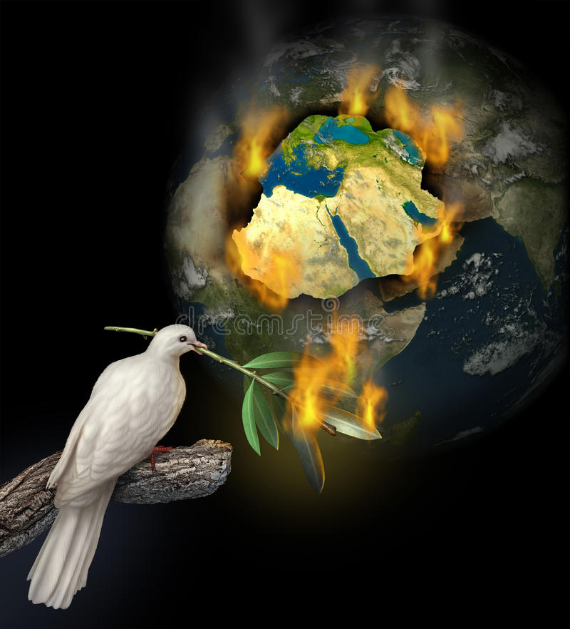 Middle East Conflict. As a burning map of Egypt Syria Iran Israel Saudi Arabia Libya Yemen Iraq with a white dove holding a burning olive branch for the tragedy vector illustration