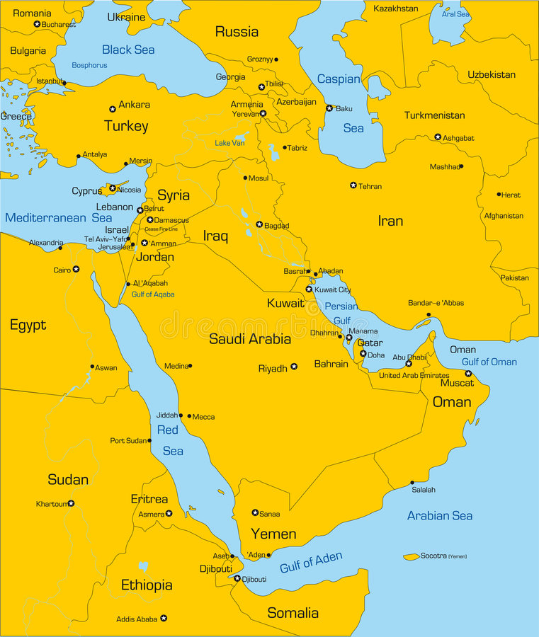 Middle East country. Abstract vector color map of Middle East country