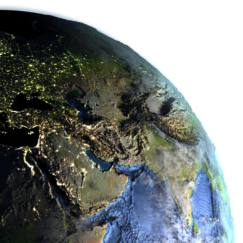 Middle East on Earth at night - visible ocean floor vector illustration
