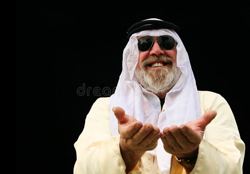 Middle East Man Opening Hand stock image