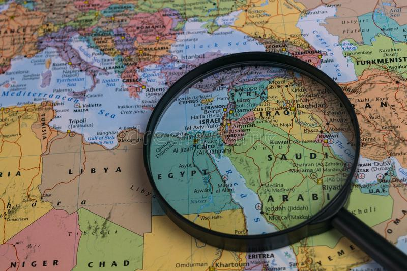 Map of middle east through magnifying glass on a world map stock download map of middle east through magnifying glass on a world map stock image gumiabroncs Gallery