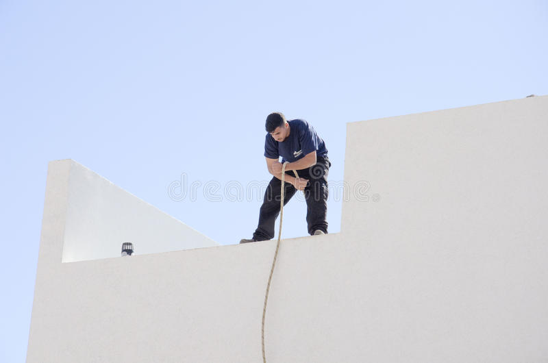 Middle East- Mitzpe Ramon, Israel. February 29,The installation of new solar water heaters. Companies `Hom-Hanegev` on the roofs of the houses being built ` royalty free stock photography