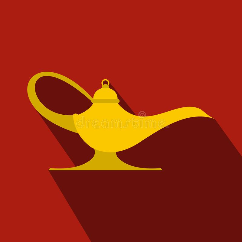 Middle east oil lamp flat. Icon on a red background. Lamp Aladdin royalty free illustration