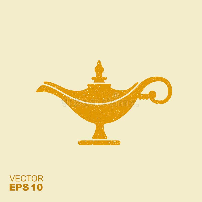 Middle East Oil Lamp. Vector flat icon with scuffed effect. Magic lamp or Aladdin lamp vector illustration. Flat icon with scuffed effect stock illustration