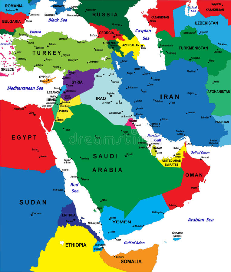 Middle east political map stock vector Illustration of jewish