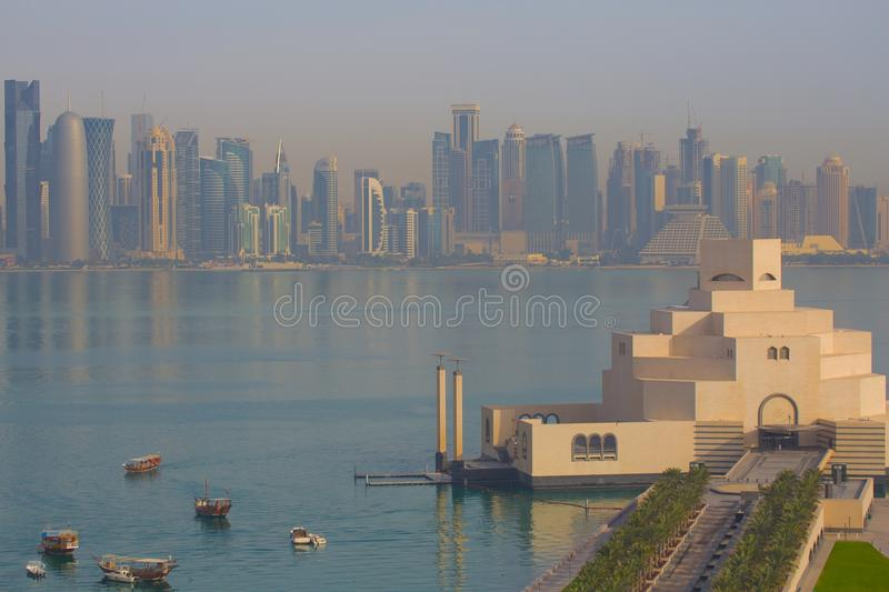 Middle East, Qatar, Doha, Museum of Islamic Art & West Bay Central Financial District from East Bay District royalty free stock image