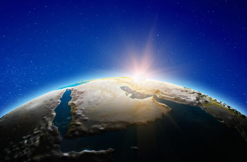 Middle East, Saudi Arabia from space royalty free stock image