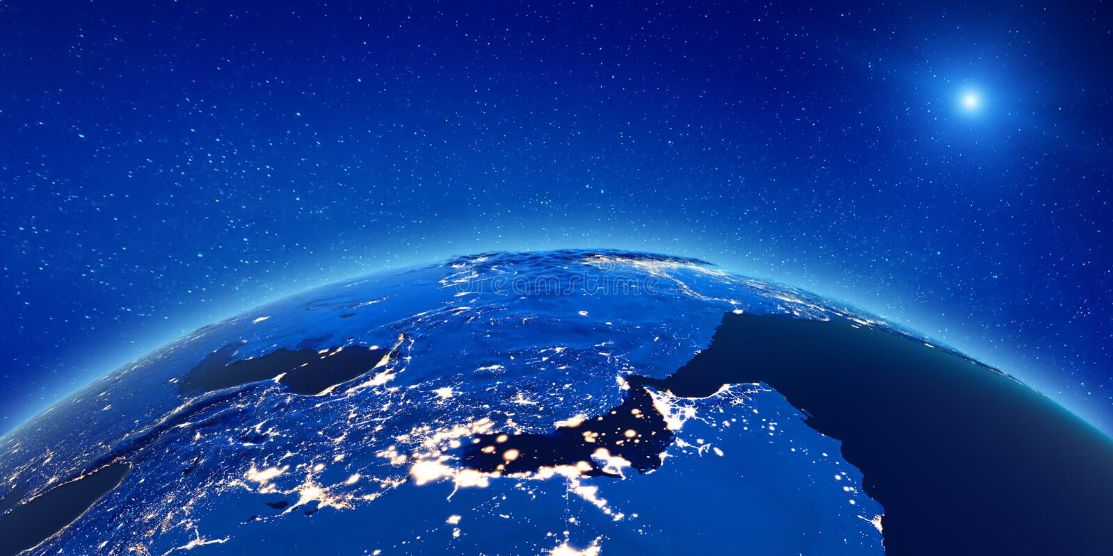 Middle East from space vector illustration
