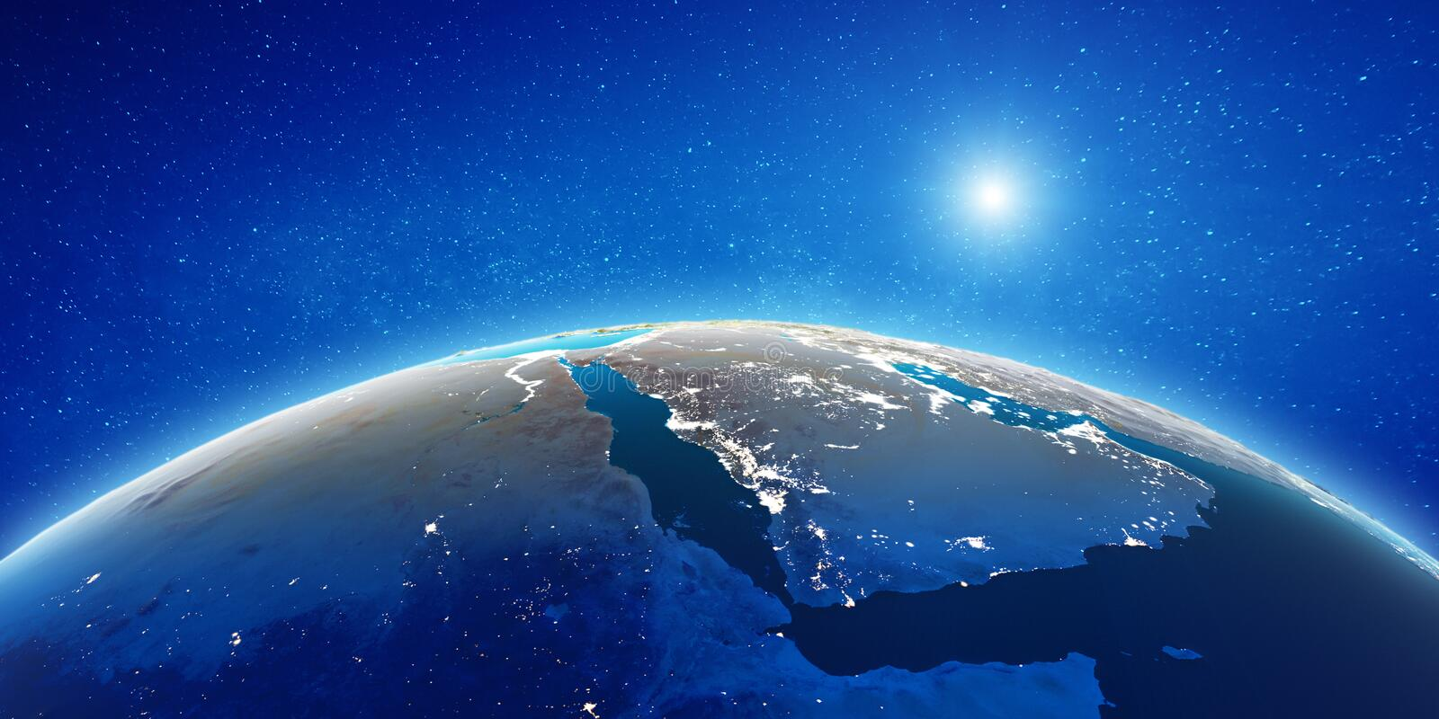 Middle East from space stock illustration