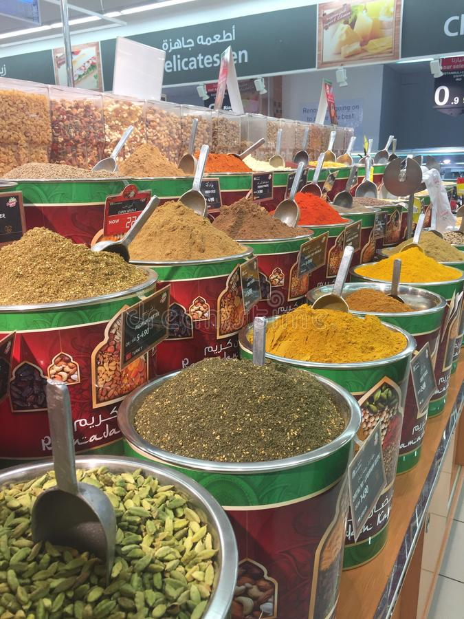 Middle East spice counter in Oman stock photo