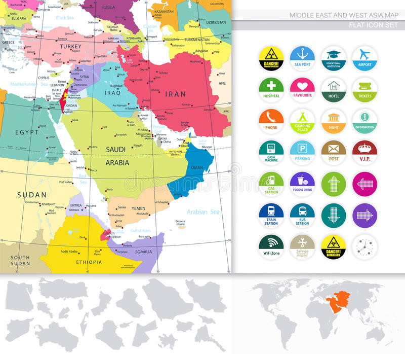 Middle east and west asia map and flat icons stock vector download middle east and west asia map and flat icons stock vector illustration of iran gumiabroncs Images