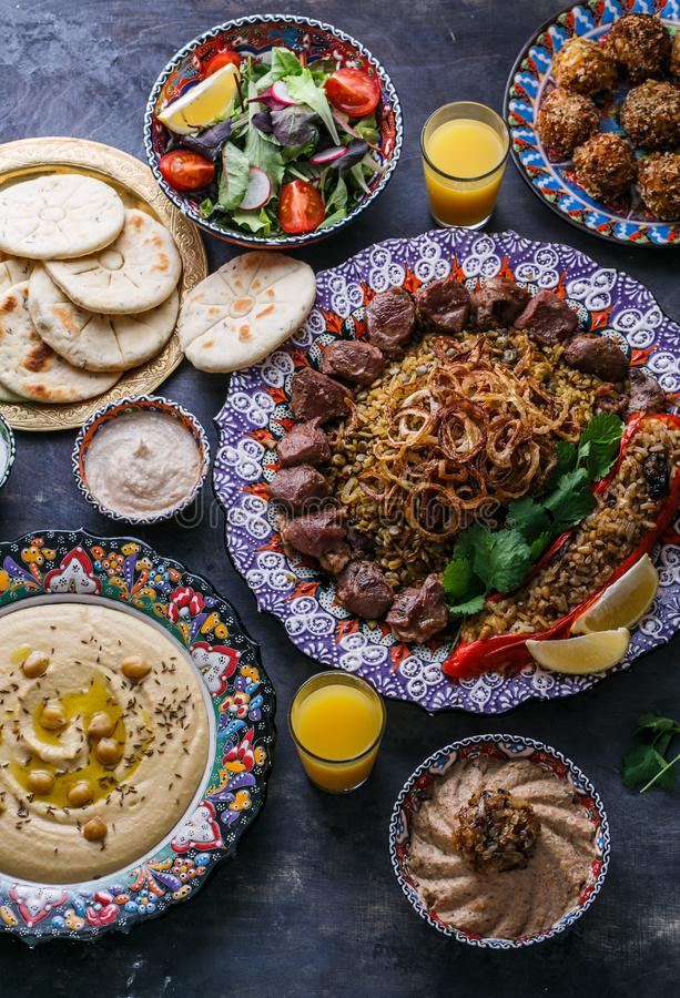 Middle eastern or arabic dishes and assorted dishes, top view.  stock images