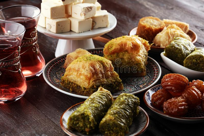 Middle eastern or arabic dishes. Turkish Dessert Baklava with pi stock images