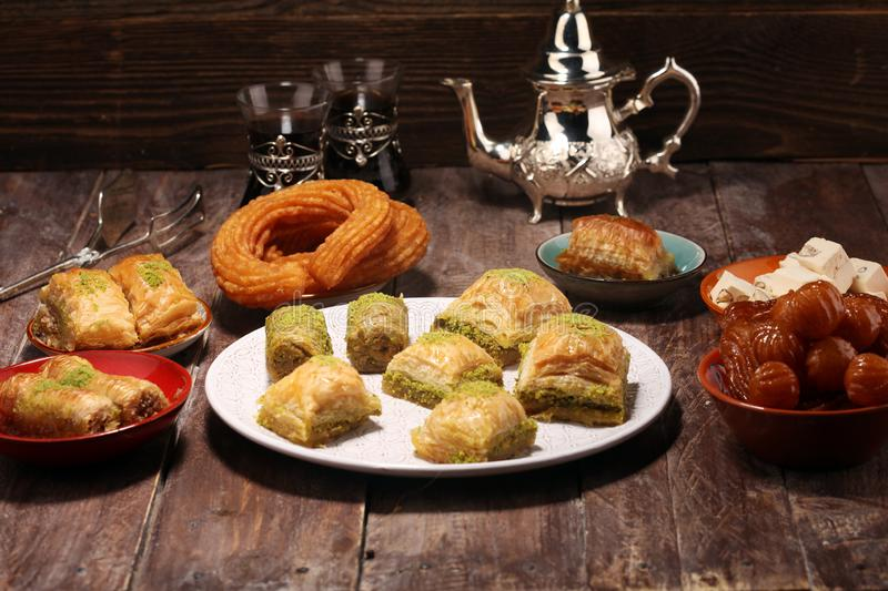Middle eastern or arabic dishes. Turkish Dessert Baklava with pistachio on dishes. Middle eastern or arabic dishes. Turkish Dessert Baklava with pistachio royalty free stock photo