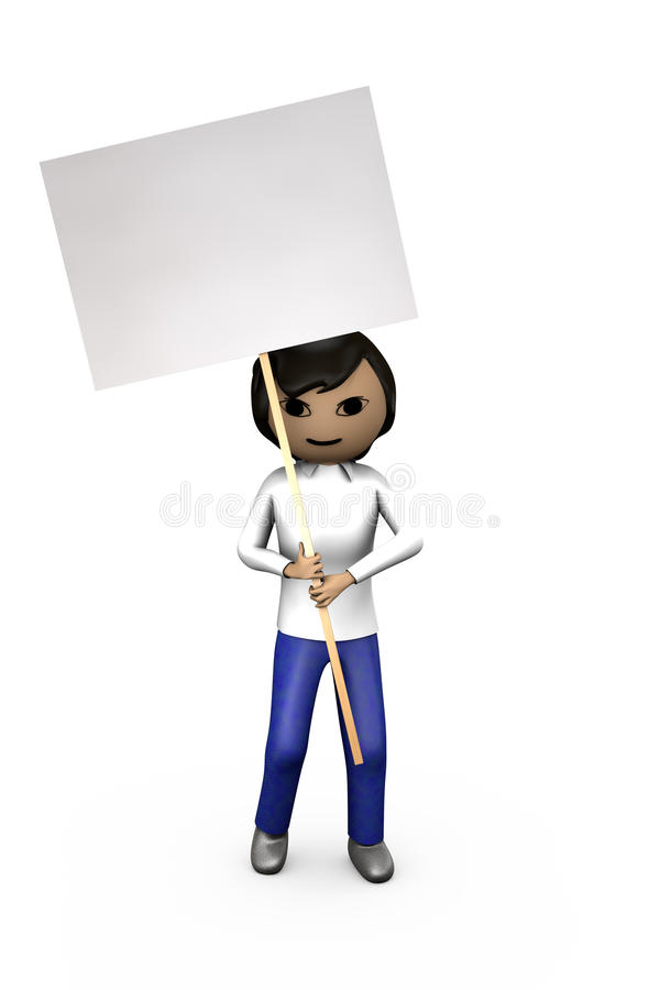 Middle-Eastern Asian 3D Guy Holding Blank Placard. Middle-Eastern Asian 3D Character Holding Blank Shaded Placard vector illustration