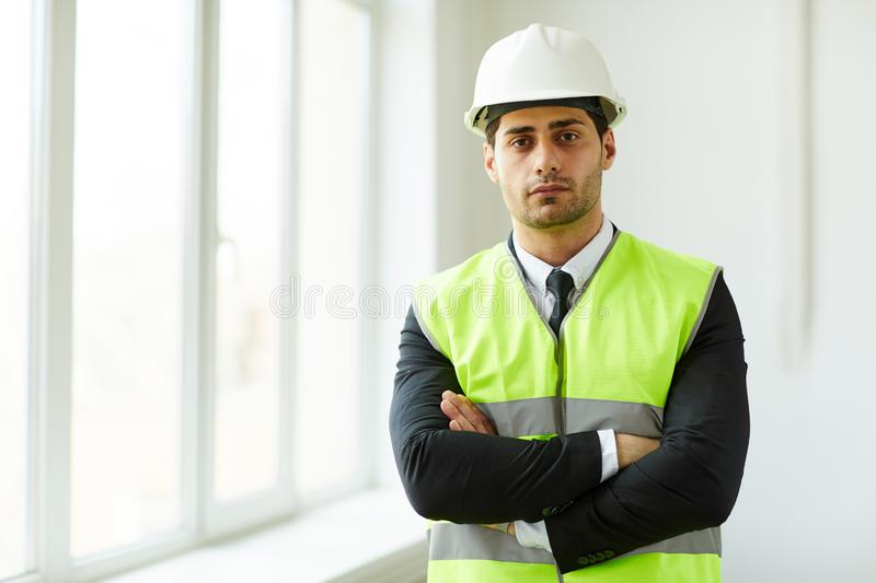 Middle-Eastern Businessman at Construction Site stock photos
