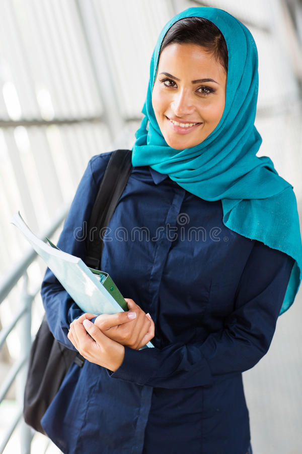 Middle eastern college girl stock images
